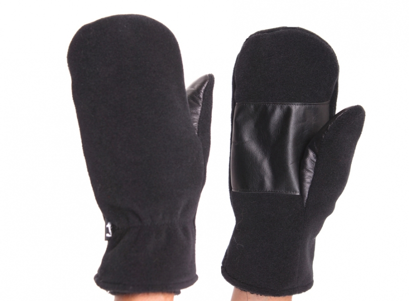 Kid mohair and Polar fleece mittens (men)
